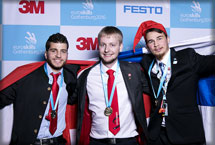 Winners Markus, Yvan and Werner of Electrical Installations Euroskills 2016 Gothenburg